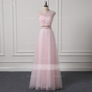 Pink Two Piece Bridesmaid Dresses Cap Sleeves A Line Prom Dresses With Crystals - EVERISA