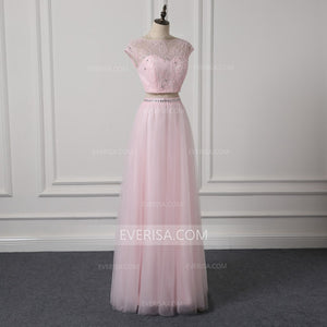 Pink Two Piece Bridesmaid Dresses Cap Sleeves A Line Prom Dresses With Crystals