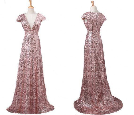 26049cd688c45 Rose Gold V Neck Cap Sleeves Sequin Prom Dresses Affordable Bridesmaid  Dresses