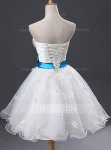 White Sweetheart A Line Homecoming Dresses Short Cocktail Dresses With Sash - EVERISA