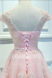 Pink Scoop Neck Cap Sleeves Lace Prom Dresses Affordable Homecoming Dresses