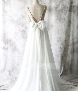 Mismatched Different Styles Rose Gold Sleeveless Sequin Bridesmaid Dress White Chiffon Prom Dress