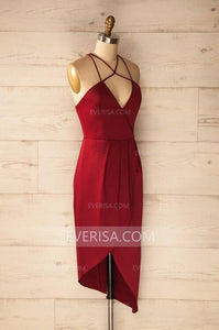 Burgundy V Neck Cross Back Slim Line Homecoming Dresses Cheap Prom Dresses