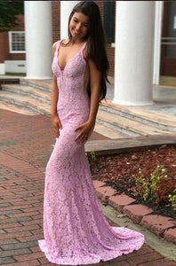 Unique Pink V Neck Sleeveless Lace Evening Dresses Mermaid Prom Dresses