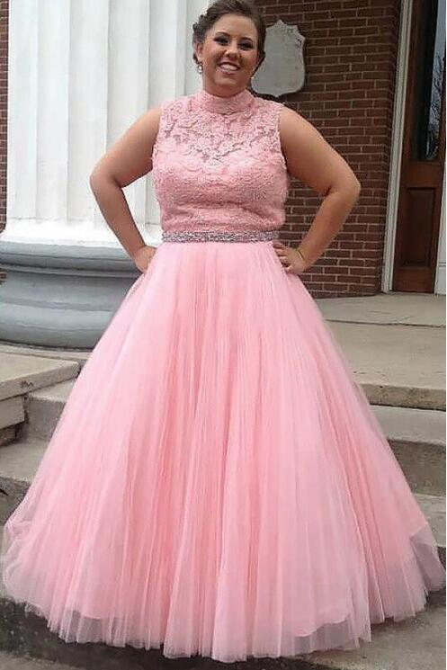 Pink Sleeveless Open Back A Line Evening Dresses Plus Size Prom Dresses
