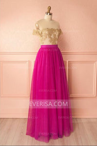 Fashion Scoop Neck Short Sleeves A Line Prom Dresses Long Bridesmaid Dresses - EVERISA