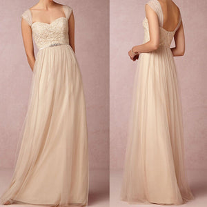 Charming Champagne Sweetheart Sleeveless Tulle Prom Dress Cheap Bridesmaid Dresses