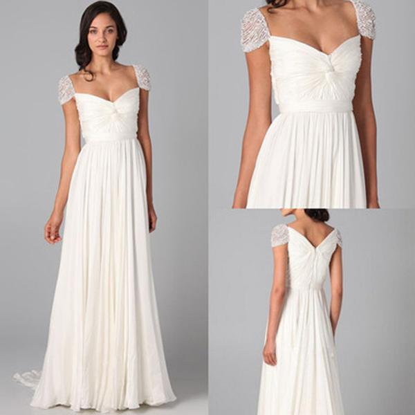 e10aec06d7ed New White Sweetheart Cap Sleeve Floor-Length Chiffon Bridesmaid Dresses  Prom Dress With Beaded