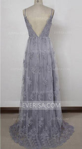Grey Sleeveless Backless Long Prom Dresses Cheap Evening Dresses With Lace Appliques - EVERISA