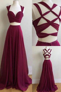 Sexy Two Pieces Prom Dresses Sleeveless Cross Back Cheap Evening Dresses - EVERISA