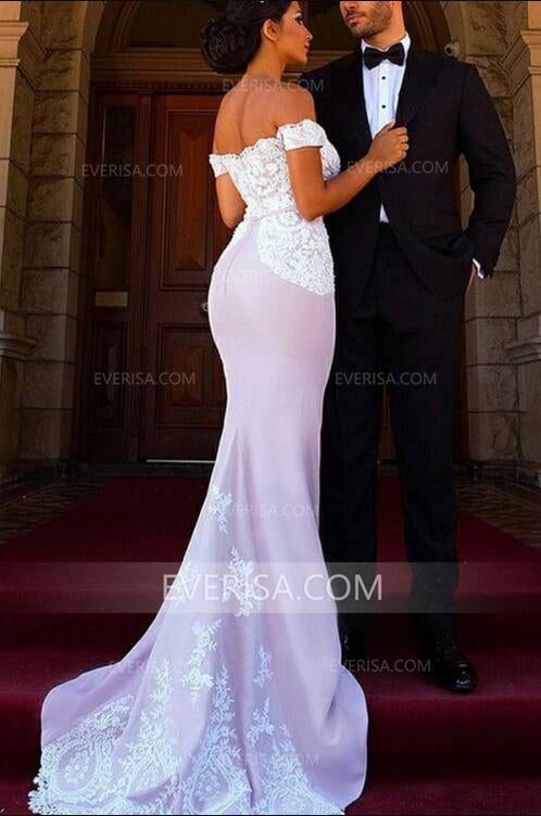 Off Shoulder Mermaid Evening Dresses Inexpensive Prom Dress With Lace