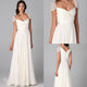 New White Sweetheart Cap Sleeve Floor-Length Chiffon Bridesmaid Dresses Prom Dress With Beaded