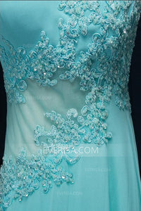 Scoop Neck Sleeveless A Line Long Prom Dresses Cheap Evening Dresses With Beaded