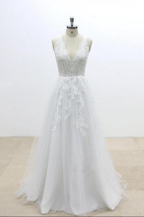 0026677ad332 Simple V Neck A Line Bridal Dresses Sleeveless Cheap Wedding Dresses With  Lace - EVERISA