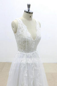Simple V Neck A Line Bridal Dresses Sleeveless Cheap Wedding Dresses With Lace - EVERISA