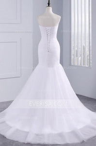 White Sweetheart Sleeveless Long Wedding Dresses Affordable Bridal Dresses - EVERISA
