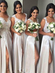 V Neck Sleeveless Side Slit Bridesmaid Dresses Affordable Prom Dresses With Lace