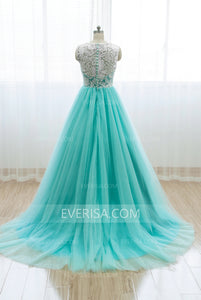 Unique Scoop Neck Sleeveless A Line Prom Dresses Long Evening Dresses - EVERISA