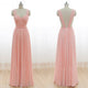 New Pink Sweetheart Open Back Floor Length Chiffon Prom Dresses Cheap Evening Dress