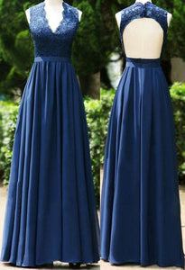 Navy Blue V Neck Open Back Lace Prom Dresses Long Bridesmaid Dresses