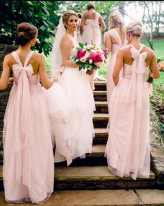 Fashion Halter Sleeveless Tulle Long Bridesmaid Dresses A Line Prom Dresses