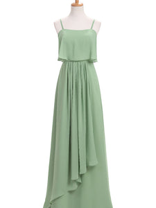 Green Sleeveless Straps Chiffon Prom Dresses Affordable Bridesmaid Dresses With Ruched - EVERISA