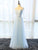 Blue Half Sleeves V Neck Tulle Long Prom Dresses Affordable Evening Dresses - EVERISA