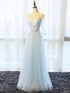 Blue Half Sleeves V Neck Tulle Long Prom Dresses Affordable Evening Dresses