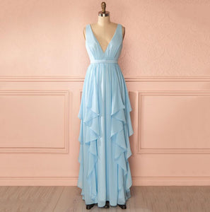 New V Neck Chiffon Prom Dresses Affordable Bridesmaid Dresses With Sleeveless