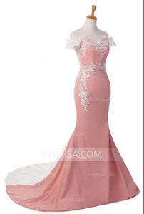 Sexy Off Shoulder Mermaid Prom Dresses Long Evening Dresses With Lace Appliques - EVERISA