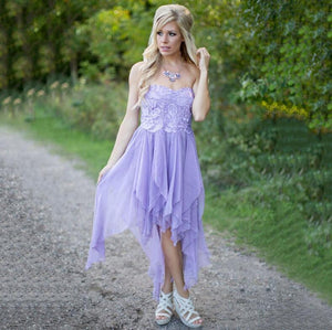Lilac Sweetheart High Low Prom Dresses Sleeveless Lace Bridesmaid Dresses