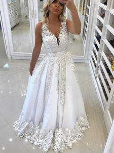 Fashion V Neck Sleeveless Lace Wedding Dresses A Line Bridal Dresses