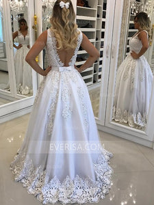 Fashion V Neck Sleeveless Lace Wedding Dresses A Line Bridal Dresses - EVERISA