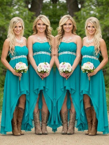 Blue A Line Bridesmaid Dresses Sweetheart High Low Prom Dresses - EVERISA