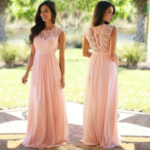 Elegant Blush Pink Empire Floor-Length Chiffon Evening Dress Cheap Prom Dresses With Lace