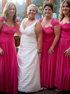 Rose Red Sleeveless A Line Bridesmaid Dresses Chiffon Prom Dresses