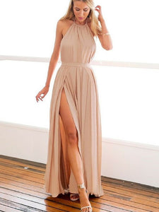 New Halter Open Back Chiffon Prom Dresses Side Slit Evening Dresses