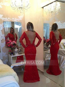 Red Long Sleeves Mermaid Evening Dresses Inexpensive Prom Dresses With Beaded - EVERISA