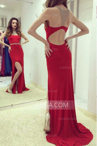 Sexy Red Mermaid Prom Dresses Sleeveless Side Slit Evening Dresses With Beaded - EVERISA