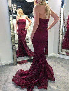 Elegant Strapless Sleeveless Long Prom Dresses Mermaid Evening Dresses