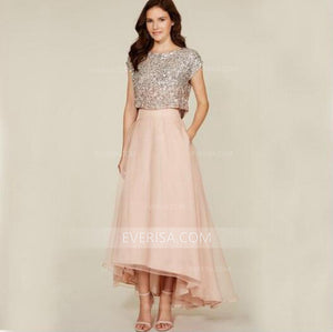 Charming Pink Two Pieces Sequin Top Tulle Long Bridesmaid Dress Prom Dress