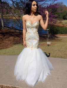 Sweetheart Sleeveless Cheap Evening Dresses Mermaid Prom Dresses With Beaded