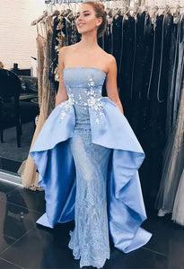 Elegant Blue Strapless Sleeveless Lace Evening Dresses Long Prom Dresses
