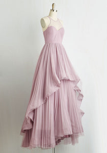 Pink A Line Prom Dresses Sleeveless Tiered Long Evening Dresses