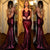 Sexy Dark Red Mermaid Backless Sequin Evening Dress Long Prom Dresses