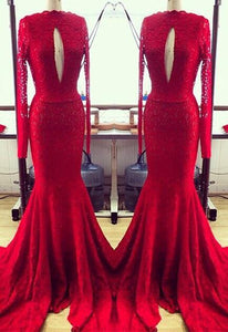 Red Long Sleeves Cut Out Lace Prom Dresses Mermaid Evening Dresses - EVERISA