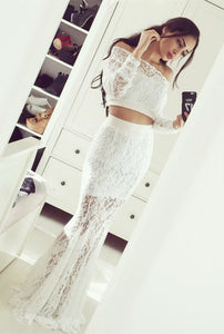 White Off Shoulder Long Sleeves Lace Evening Dresses Long Prom Dresses - EVERISA