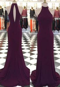 High Neck Sleeveless Backless Long Prom Dresses Cheap Evening Dresses - EVERISA