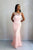 Pink Sleeveless Mermaid Prom Dresses Cheap Evening Dresses With Crystal