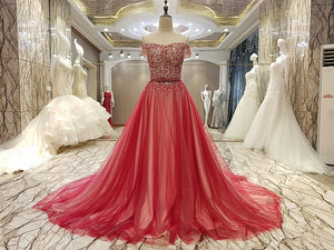 Fashion Off Shoulder A Line Evening Dresses Affordable Prom Dresses With Crystals - EVERISA